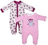 Mädchen Baby 2er-Packung Süß Eule Schlafanzug Baumwolle Strampler Größen von Neugeborene bis 9 Monate - Rosa, Newborn