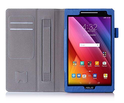 ISIN Tablet Fall Serie Premium PU-Leder Schutzhülle für ASUS Zenpad 8.0 Zoll Z380C Z380KL Z380M WIFI 4G LTE Tablet Handy mit Handschlaufe und Kartenschlitz (Blau)