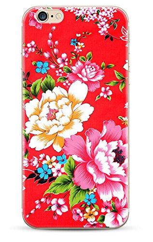 iPhone 6 ,iPhone 6s-Coque gel souple incassable anti choc avec impression motif fleurs-NOVAGO® (Fleur Rouge)