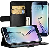 Galaxy S6 Edge Cover, EasyAcc S6 Edge Leather Wallet Case Pouch Cover with Kickstand Card Holder Black PU Leather for Samsung Galaxy S6 Edge Case