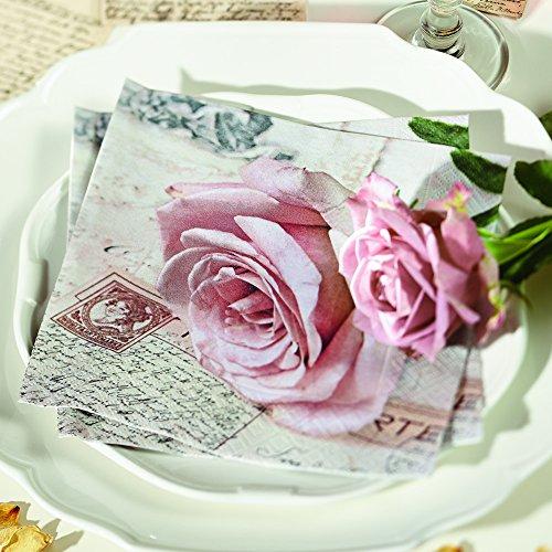 20 Servietten Postcard rose – Herzliche Postkarte / Liebe / Rosenblüte 33x33cm -