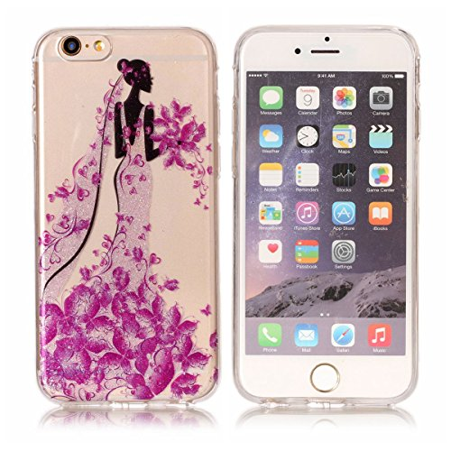 iPhone 6S Plus Hülle ,Fodlon® Ultra Slim Fit TPU Gel Skin BlinkenPulver Schutzhülle / Case / Cover -Zweige Pflaumenblüte Prinzessin
