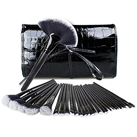Nestling® 32 Pcs synthétique Maquillage Fibre Hair Brush Set cosmétiques Pinceaux Make Up Kit Professional Essential Powder Black Brush Eyeliner Fard à paupières Sourcils Badigeonner avec Crocodile Sac de Voyage