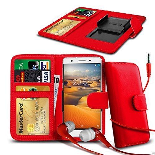 N4U ONLINE - Clip Kunstleder Hülle Tasche & Kopfhörer für Wiko Birdy - Verschiedene Farben - Rot