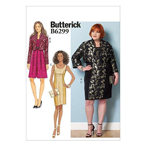 Butterick Schnittmuster 6299RR Größen 18W–24W/Damen Jacke und Kleid Schnittmuster, mehrfarbig (18w-24w-jacke)
