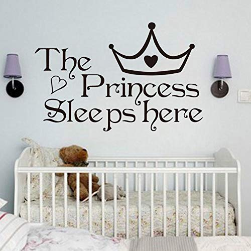 23x34cm The Princess Sleep Here Wall Stickers For Kids Rooms Schlafzimmer Quote Wall Art Decals Wallpaper Home Decoration Accessories -