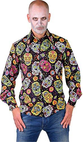 M217294-220-M Mexican Skull Herren Hemd-Bluse Tag der Toten Gr.M