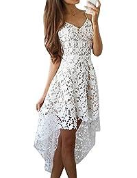 Mujer Sin Mangas V Cuello Encaje Croché Elegante Falda De Banquetes Blanco XL