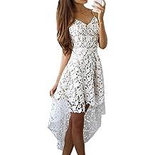 Mujer Sin Mangas V Cuello Encaje Croché Elegante Falda De Banquetes Blanco M