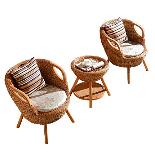 seeksungm Chair, table/Tea Table, Natural rotin Hand-Woven Table And Chair Set, Eco-Friendly Breathable Table And Chair, Casual Home Wicker Chair Three-piece (1 table and 2 chairs)