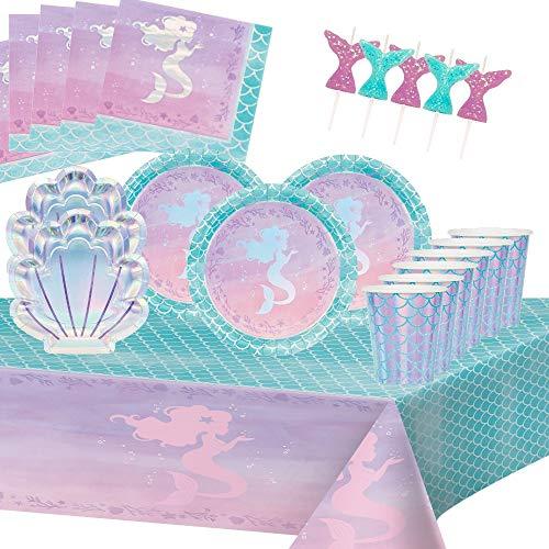 Kindergeburtstag Meerjungfrau Meer Mermaid Geburtstagparty 8 Kinder Mädchen Jungen Dekoration Tisch Partygeschirr Geschirr 1 Tischdecken 8 Pappbecher 8 Pappteller 16 Servietten