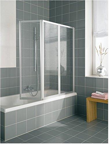 Kermi Vario 2000 Badewannenfaltwand silber matt; Kunstglas Perl; Breite 140 cm - Made in Germany
