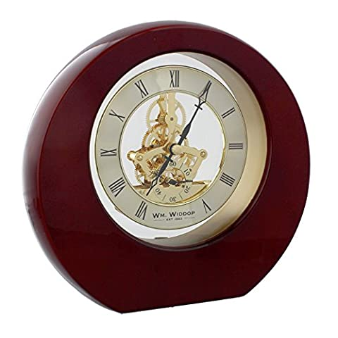 Mahogany Gold Round Wooden Skeleton Mantel Desk Table Clock Roman Numerals 19cm