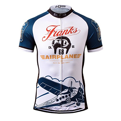Thriller Rider Sports® Mens Franks Airplane Outdoor Sports Mountain Bike Short Sleeve Cycling Jersey