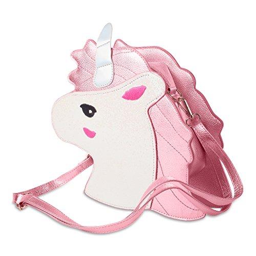 Süße Einhorn Handtasche, die erste Shopping-Bag des Lebens im Einhorn-Design mit Trage-Griffen, Schulter-Beutel für Mädchen und Damen - Bunte Unicorn Tasche mit Horn und Motiv - Rosa