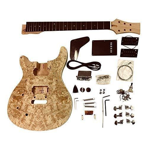 GDPR88L para Zurdos Caoba Arco Parte Superior Cuerpo con Spalted Arce Chapa con Blanco Ribeteado en Cuerpo Guitarra Eléctrica DIY Kit para Estudiante & Luthier Proyectos