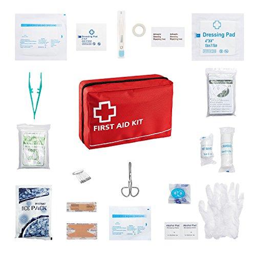 Erste Hilfe Set 95 Stück First Aid Kit für Reisen Auto zu Hause Wohnwagen Kampieren Überleben und Arbeit Beinhaltet Augendusche, CPR Maske (Beatmungsmaske) Rettungsdecke Kühl Akku und vieles mehr