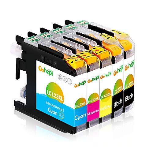 Gohepi Ersatz für Brother LC123 Druckerpatronen Hohe Kapazität Kompatibel für Brother MFC-J6520DW, DCP-J4110DW, MFC-J4410DW, MFC-J470DW, MFC-J870DW, DCP-J132W, MFC-J4510DW, DCP-J552DW