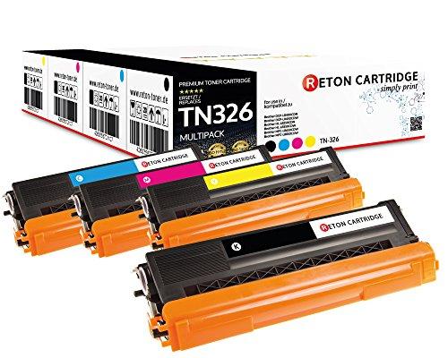 Original Reton Toner, kompatibel, 4er Farbset für Brother TN-326 (TN326BK, TN326C, TN326M, TN326Y), HL-L8250, L8350, L8350CDWT, L8250CDN, L8350CDW, MFC-L8600, L8850, L8600CDW, L8850CDW