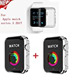 Apple Watch Series 3 Case , Sfmn 2pack iWatch 3 Case Soft TPU Clear Screen Protector for Apple Watch 3 (42MM TPU Case)