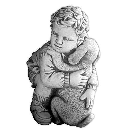 gartendekoparadies.de Massive Steinfigur Junge mit Hund Kinderfigur aus Steinguss frostfest