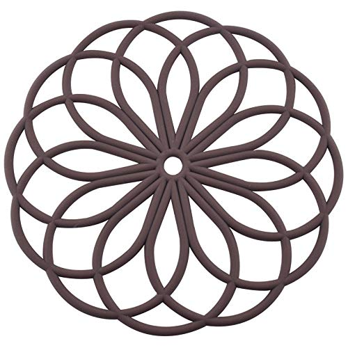 LY/WEY 2 Pcs Silikon-Isoliermatte, Topf Matte Tischset Coaster Große Runde rutschfeste Hochtemperatur-Küche Liefert @ Braun -