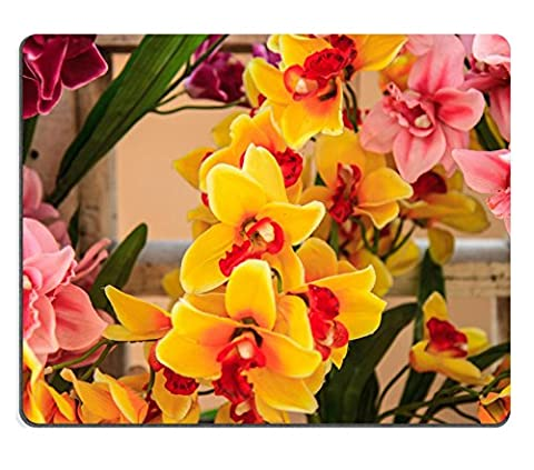 luxlady Naturkautschuk Gaming Mousepads Bouquet of Beautiful Künstliche Orchidee Bloom Blumen Bild-ID 26001262