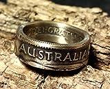 Coinring, Münzring, Ring aus Münze (1 Shilling, Australien 1953 ), 500er Silber - Double Sided coin ring - Größe 52 (16.6), handgeschmiedetes Unikat