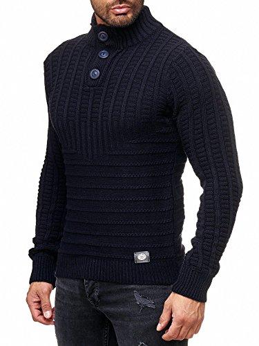 Rusty Neal Herren Grobstrick Strickpullover Pullover Sweatshirt Jacke RN-13314 Blau