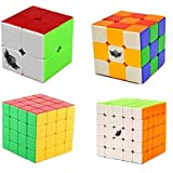 Creation® Cyclone Boys Bundle cubo de la velocidad 2x2 3x3 4x4 5x5 Stickerless Smooth cubo mágico rompecabezas del juguete Paquete de 4