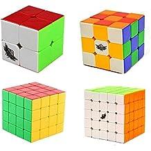 Creation® Cyclone Boys Bundle cubo de la velocidad 2x2 3x3 4x4 5x5 Stickerless Smooth cubo mágico rompecabezas del juguete Paquete de 4
