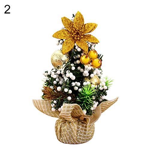 Brussels0820cm mini albero di natale con palla fiore xmas party winter snow trees christmas tree topper ornamenti da tavolo per fai da te decorazione della stanza casa centrotavola diorama modelli 2#