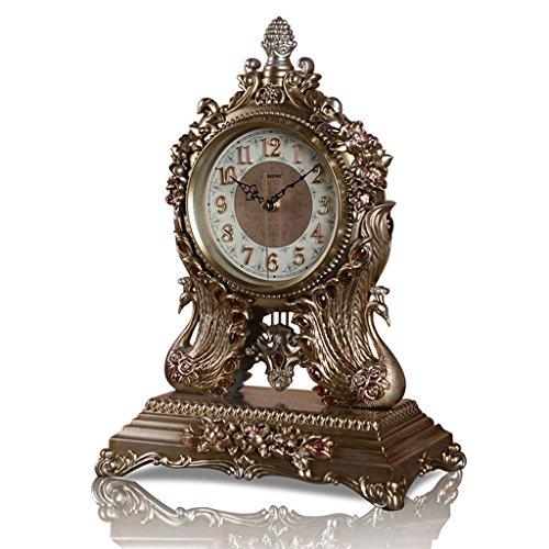 Unbekannt Tischuhr Mantel Uhren für Wohnzimmer Schlafzimmer Mute Harz Uhr Desktop Dekoration -Max Home (Farbe : Bronze)