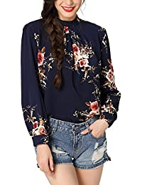 c99d747016 Abollria Donna Camicia Elegante a Manica Lunga Blusa a Fiori per Primavera  Estate Autunno