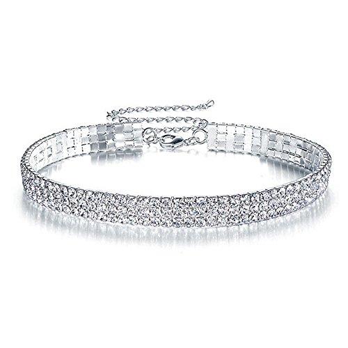 Elegant Rose 3 Row Stretch Rhinestone Choker Necklace Strass Halsband Halskette Hochzeit Schmuck für Frauen