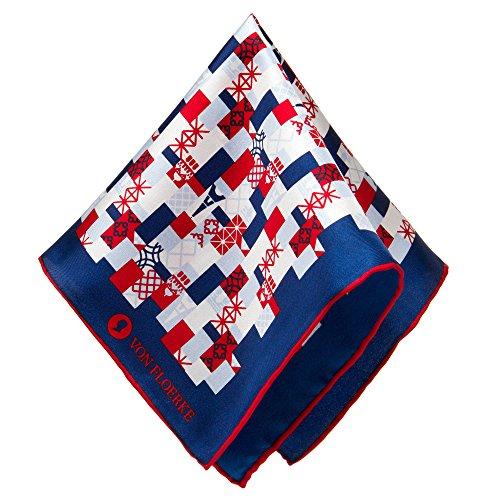 Handrollierte Einstecktuch 100% Seide – 30x30cm – mit Paris Muster – Blau, Blau Rot – hochwertige Kavalierstücher/Pochette für Herren von VON FLOERKE (Verschönert Krawatte)