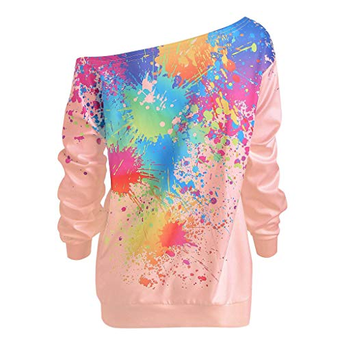 AIFGR Sweater Damen Off Shoulder Strickpullover Oversize Langarm Rollkragenpullover Winter Warm Top Bluse Solide Lose Sweatshirt Pullover(Rosa,XL) -