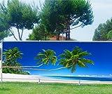 Stickersnews - Brise vue imprimé, jardin, terrasse, balcon déco Palmiers Plage Dimensions - 180x70cm, Occultation - 100%