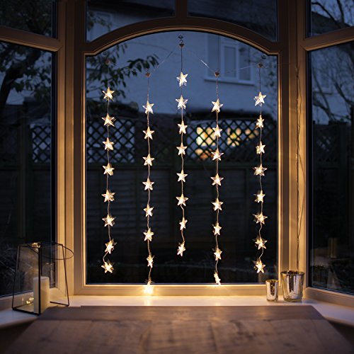 40er White LED Star Curtain Fairy String Lights Warm White Clear Cable Parent
