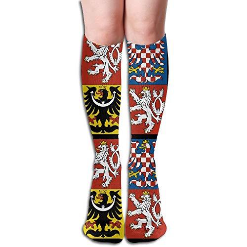 Dnim Wappen der Tschechischen Republik Design elastische Mischung lange Socken Kompression Kniestrümpfe (50 cm) für den Sport -