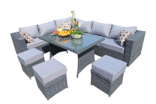 Yakoe 9 Seater Papaver Range Rattan Garden Furniture Corner Sofa and Dining  Set   Grey. Grey Rattan Outdoor Furniture  Amazon co uk