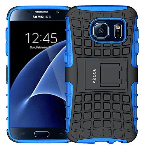 ykooe Coque Galaxy S7, Bouclier Série Smartphone Etui Housse Anti-Slip Samsung Galaxy S7 Coque de Protection en TPU avec Absorption de Choc Béquille et Anti-Scratch (Bleu)
