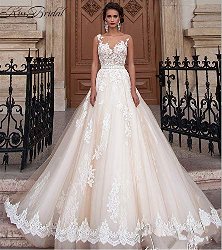 UNIQUE-F Braut Kleid Elegantes Kleid Frau Spitze sexy Langen Schwanz Rock Brautkleid Prinzessin trägerlosen schleppenden weißen Custom S - Seide Trägerlosen Brautkleid
