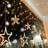 Quntis Rideau Lumière 12 Étoiles 138 LEDs 2M Guirlande Lumineus Murale 8 Modes Éclairage Intérieure Noël Mariage Fête Décoration Lumineuse Blanc Chaud légère pour Maison Fenêtre Jardin Anniversaire