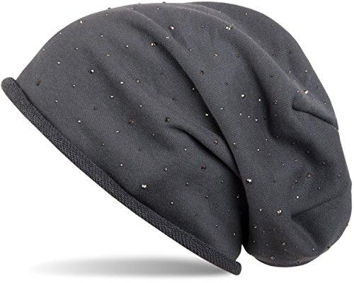 styleBREAKER warme klassische Beanie Mütze mit Strass-Nieten Applikation und Rollrand, Unisex 04024024, Farbe:Anthrazit (Baumwolle, Strass Elasthan)