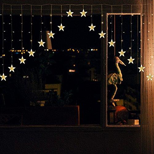 YMing LED Sterne Lichterkette 2M 136 LEDs 16 Sterne 8 Modi Lichtervorhang V-Form Sternenvorhang Weihnachtsbeleuchtung Deko für Innen Fenster für Party Hochzeit Halloween Weihnachten ( Niederspannung )