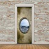 Sticker Mural Art Fenêtre Vue Sur La Mer Porte Stickers Muraux Diy Mural Chambre Décor À La Maison Affiche Pvc Étanche Porte Autocollant 77 X 200 Cm