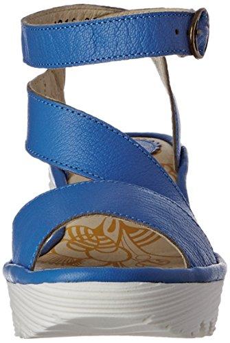 Fly London Yesk, Sandales compensées femme Bleu (Smurf Blue 021)