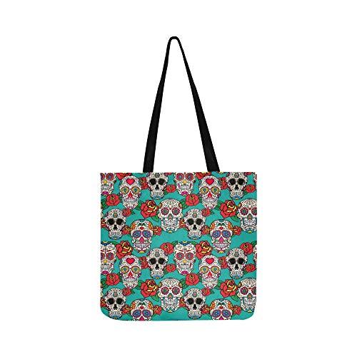 Sugar Skulls Roses Dia Canvas Tote Handtasche Schultertasche Crossbody Taschen Geldbörsen für Männer und Frauen Einkaufstasche (Tasche Von Zucker Baby Kostüm)