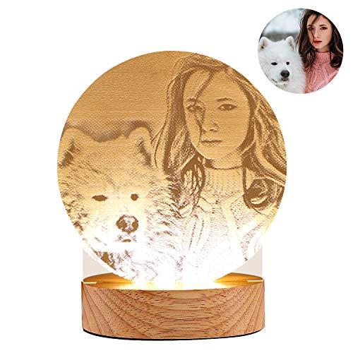 (Personalisierte Foto Nachtlichter LED Tischlampe USB Gebühr Schlafzimmer Schreibtisch Dekor für Kinder Erwachsene Weihnachtsgeschenk)